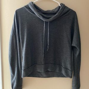 cropped, gray, cowl neck with draw strings!